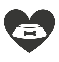 Heart love pet mascot isolated icon vector