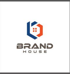 Hexagon letter b real estate logo design vector