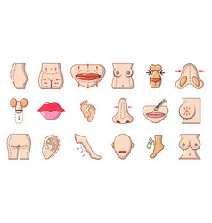 Human body icon set cartoon style vector