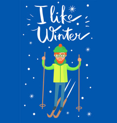 i like winter skier poster vector image