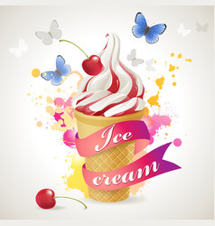 Ice cream cone background vector