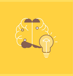 idea business brain mind bulb flat line filled vector image