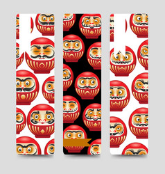japanese daruma dolls bookmarks vector image