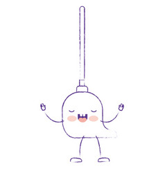 Kawaii cartoon mop with wooden stick in purple vector