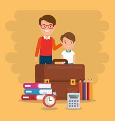 little boy with teacher and school supplies vector image