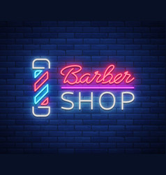 Logo neon sign barber shop for your design vector