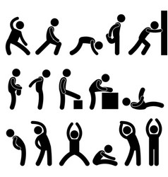 Man athletic exercise stretching symbol pictograph vector