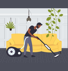 Man using vacuum cleaner african american male vector