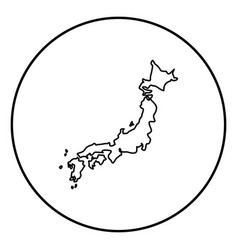 Map of japon icon black color in circle round vector