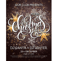 merry christmas party poster with lettering vector image