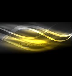 Neon elegant smooth wave lines digital abstract vector