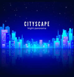 night city landscape with neon glow and bright vector image