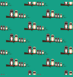 Owls family on the branch seamless pattern vector