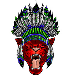 panther with native american indian chief vector image