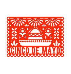 Papel picado greeting card with sombrero and vector