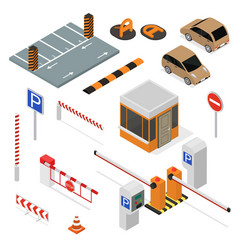 parking elements concept 3d icon set isometric vector image