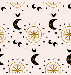 pattern design with compass and celestials vector image