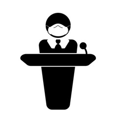 Person with mask giving speech announcement vector