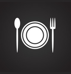 plate fork spoon on black background vector image