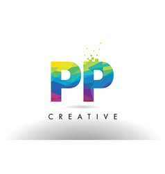 Pp p colorful letter origami triangles design vector
