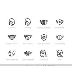 Protective medical face mask icon set safety vector