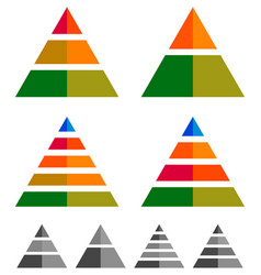 pyramid cone triangle charts graphs 3-2-5-4 level vector image