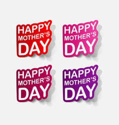 Realistic paper sticker mothers day vector