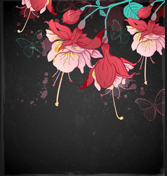 red tropical flowers vector image