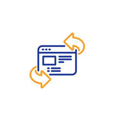 Refresh website line icon update web page sign vector