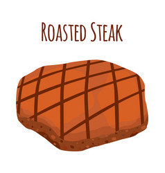 roasted steak slice of fried meat flat style vector image