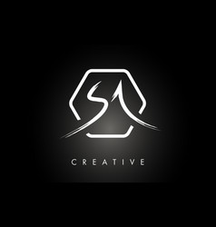 Sa s a brushed letter logo design with creative vector