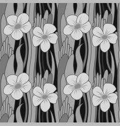 Seamless grayscale flower vector