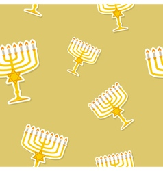 Seamless pattern with hanukkah symbol icons vector