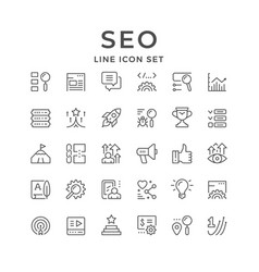 set line icons seo vector image