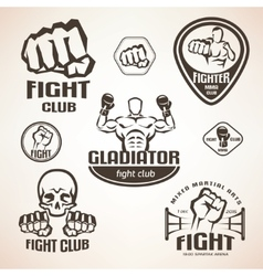 Set of fighting club emblems MMA boxing labels vector image