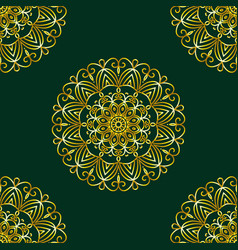 simple gold circular pattern on dark green vector image