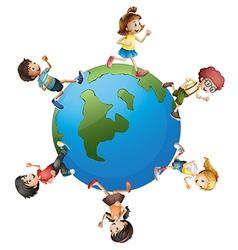 Six kids walking around planet earth vector