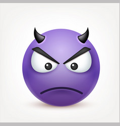 smileydevil angry emoticon yellow face with vector image
