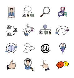 Social network icons set cartoon vector