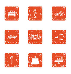 Stationnement icons set grunge style vector