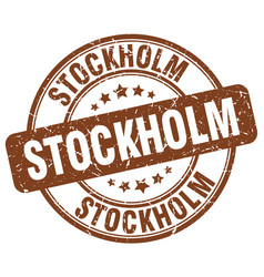 Stockholm brown grunge round vintage rubber stamp vector