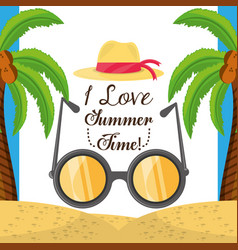 Summer hat and sun glasses over sand with a vector