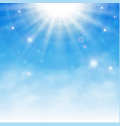 sun burst background with details of blue sky and vector image