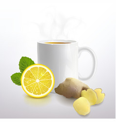 tea with lemon and ginger vector image