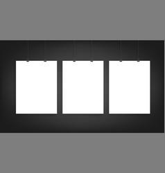 three poster mockup vector image