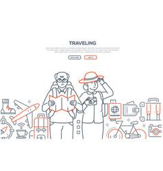 Traveling - line design style web banner vector