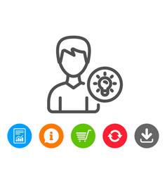 User line icon profile with lamp bulb sign vector