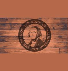 washington state flag and seal brand vector image