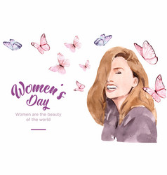 Women day frame design with butterfly woman vector