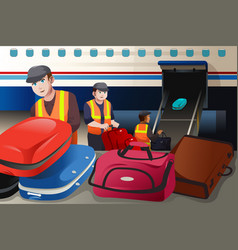 Workers loading luggage into an airplane vector